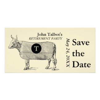 Vintage Cow Retirement Save the Date Monogram Card