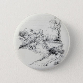 Vintage Cow Sheep in Field Stream Meadow Print 6 Cm Round Badge
