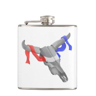 Vintage Cow Skull Patriotic Ribbon Flask