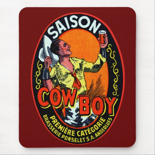 Vintage Cowboy Ale Mousepad