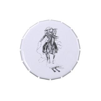 Vintage Cowboy and Horse Illustration Candy Tins