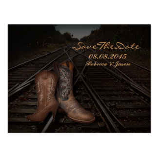 vintage Cowboy Boots Country save the date Post Card