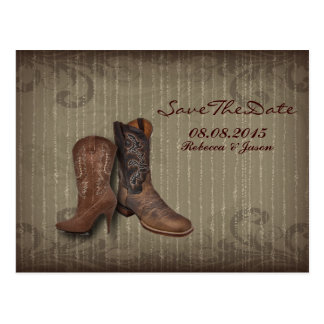 vintage Cowboy Boots Country save the date Postcards