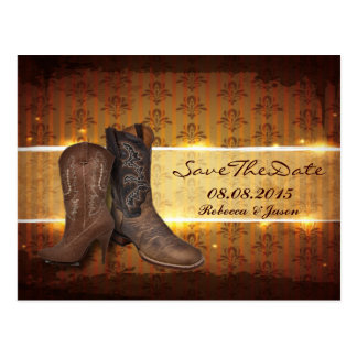 vintage Cowboy Boots Country save the date Post Cards