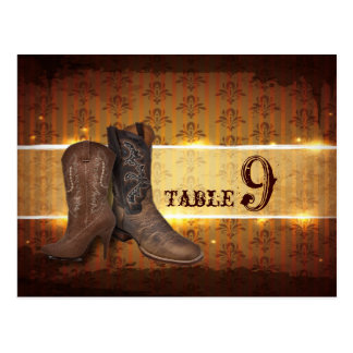 vintage Cowboy Boots Country table number Postcard