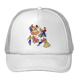 Vintage Cowboy Kitsch Square Dancers 60s Decal Art Trucker Hat