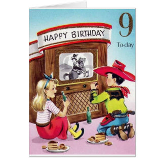 Vintage Cowboy Nine Year Old Birthday Card