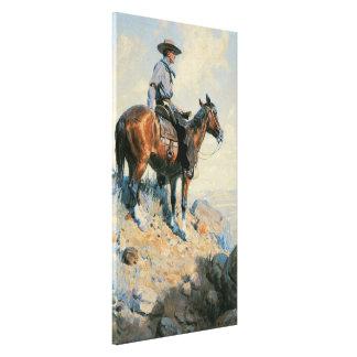 Vintage Cowboy, Sentinel of the Plains By Dunton Canvas Print