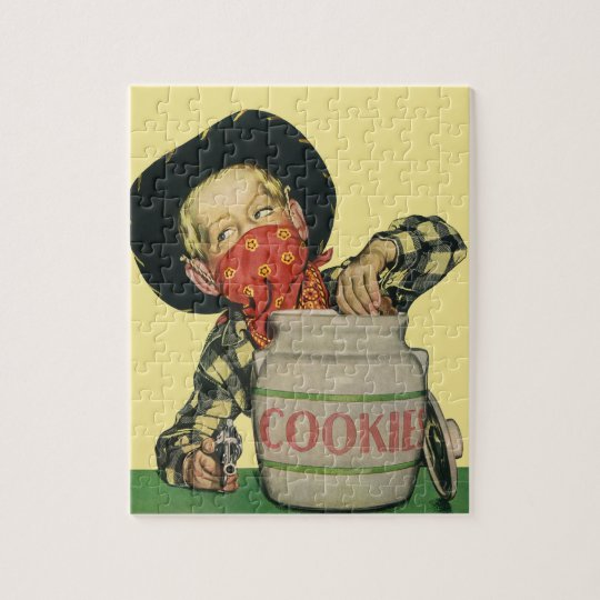 Vintage Cowboy Toy Gun Hand in the Cookie Jar Jigsaw Puzzle