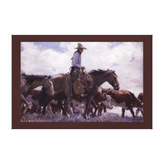 Vintage Cowboy with His Herd of Cattle by Koerner Canvas Print