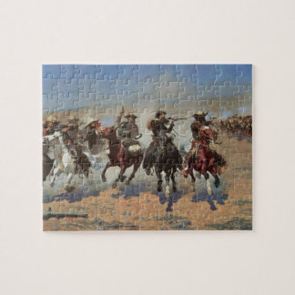 Vintage Cowboys, A Dash For Timber by Remington Jigsaw Puzzle