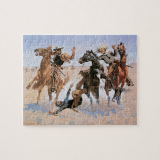 Vintage Cowboys, Aiding a Comrade by Remington Jigsaw Puzzle