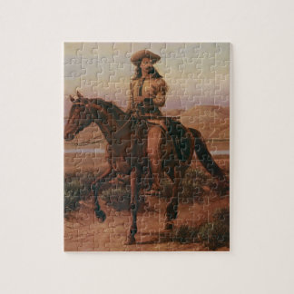 Vintage Cowboys, Buffalo Bill on Charlie by Cary Jigsaw Puzzle