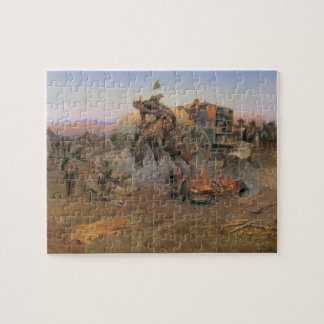 Vintage Cowboys, Camp Cook's Trouble by CM Russell Jigsaw Puzzle