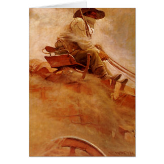 Vintage Cowboys, The Ore Wagon by NC Wyeth Card