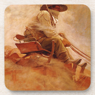 Vintage Cowboys, The Ore Wagon by NC Wyeth Coaster