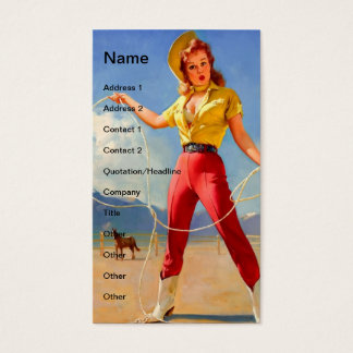 Vintage Cowgirl and Horse Business Card