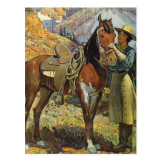 Vintage Cowgirl and Horse Postcard