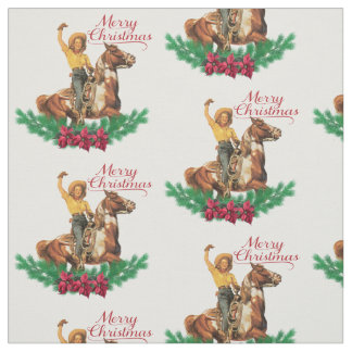 Vintage Cowgirl On Horse Merry Christmas Fabric