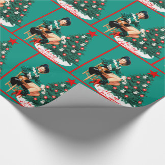 Vintage Cowgirl With Christmas Tree Merry Christma Wrapping Paper