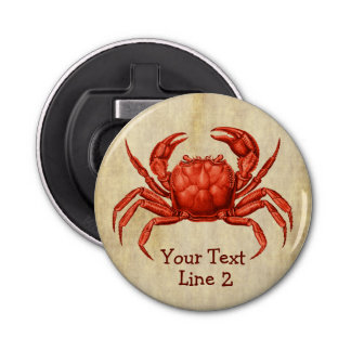 Vintage Crab Design Personalized Bottle Opener