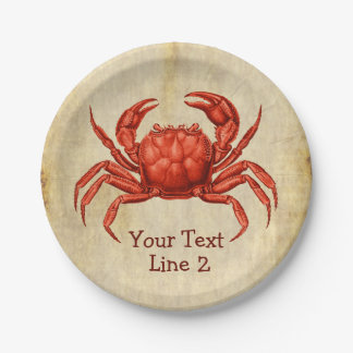 Vintage Crab Design Personalized Paper Plate