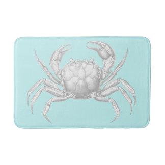 Vintage Crab Design Turquoise Blue Bath Mat