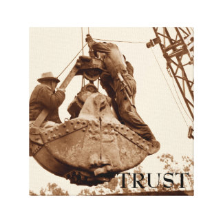Vintage Crane Operator Men in Bucket Trust Canvas Print