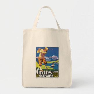 Vintage Crans Golf Alpin Tote Bags