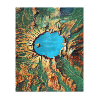 Vintage Crater Lake National Park Relief Map Canvas Print