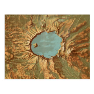 Vintage Crater Lake Oregon Map Postcard