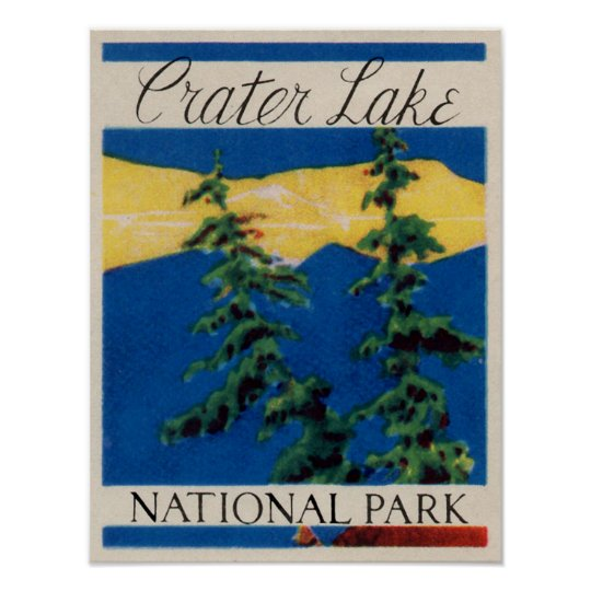 Vintage - Crater Lake Oregon Travel Poster