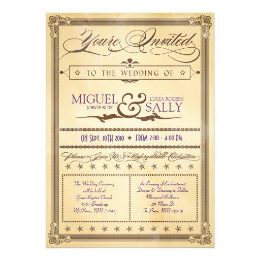 Vintage Cream & Brown Poster Wedding Invitation
