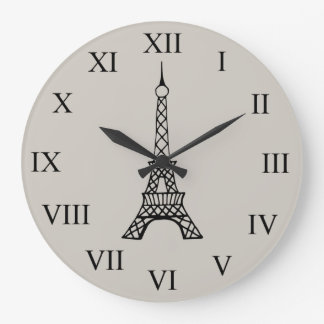 Vintage Cream Eiffel Tower Paris Wall Clock