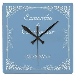 Vintage Cream Floral Frame on Dusk Blue Wedding Wall Clock