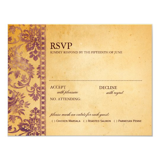 Vintage Cream & Lilac Damask Wedding RSVP Card