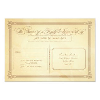 "Vintage Cream Poster Style Wedding RSVP 3.5"" X 5"" Invitation Card"