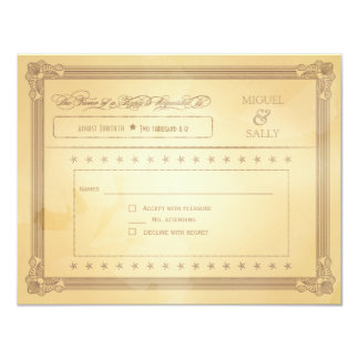 "Vintage Cream Poster Style Wedding RSVP 4.25"" X 5.5"" Invitation Card"
