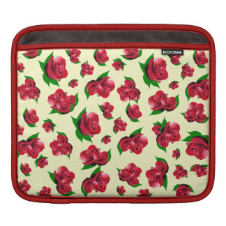 Vintage Cream & Red Rose Pattern ipad case Sleeve For iPads