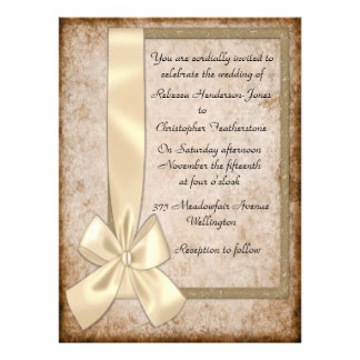 Vintage Cream Ribbon and Brown Wedding Invitations