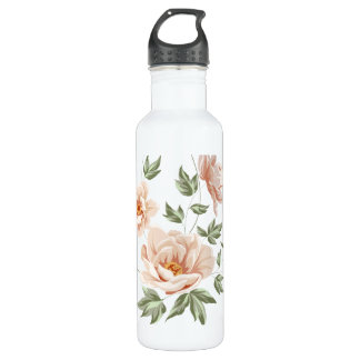 Vintage creamy orange spring floral painting 710 ml water bottle