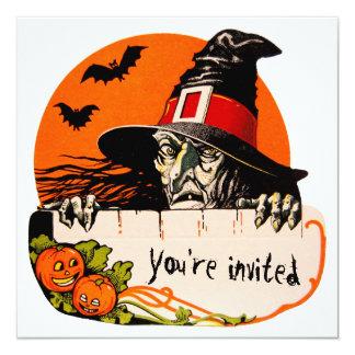 Vintage Creepy Witch Halloween Party 13 Cm X 13 Cm Square Invitation Card