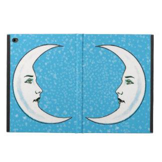 Vintage Crescent White Moon Face White Stars