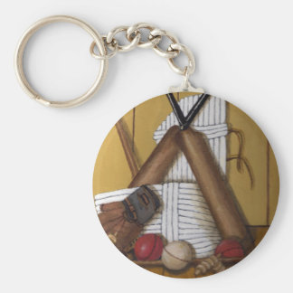 Vintage Cricket Basic Round Button Key Ring