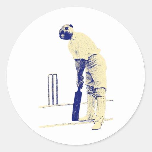vintage cricketing meerkat. stickers