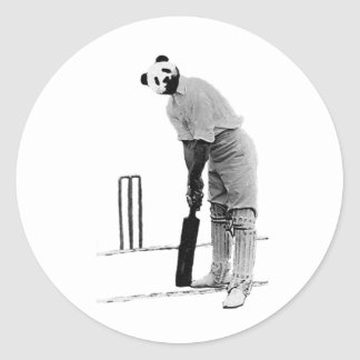 vintage cricketing panda classic round sticker