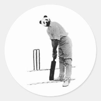 vintage cricketing panda round sticker