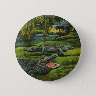 Vintage Crocodiles, Marine Life Animals, Reptiles 6 Cm Round Badge