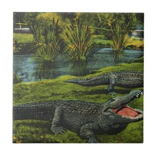 Vintage Crocodiles, Marine Life Animals, Reptiles Small Square Tile