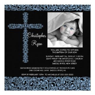 Vintage Cross Photo Baptism Inviation Baby Boy Invite